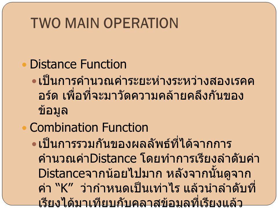 TWO MAIN OPERATION  Distance Function  เป็นการคำนวณค่าระยะห่างระหว่างสองเรคค อร์ด เพื่อที่จะมาวัดความคล้ายคลึงกันของ ข้อมูล  Combination Function 