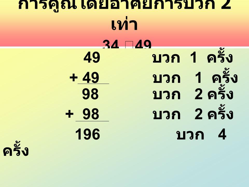 การคูณโดยอาศัยการบวก 2 เท่า 34 ⅹ 49 49 บวก 1 ครั้ง + 49 บวก 1 ครั้ง 98 บวก 2 ครั้ง + 98 บวก 2 ครั้ง 196 บวก 4 ครั้ง