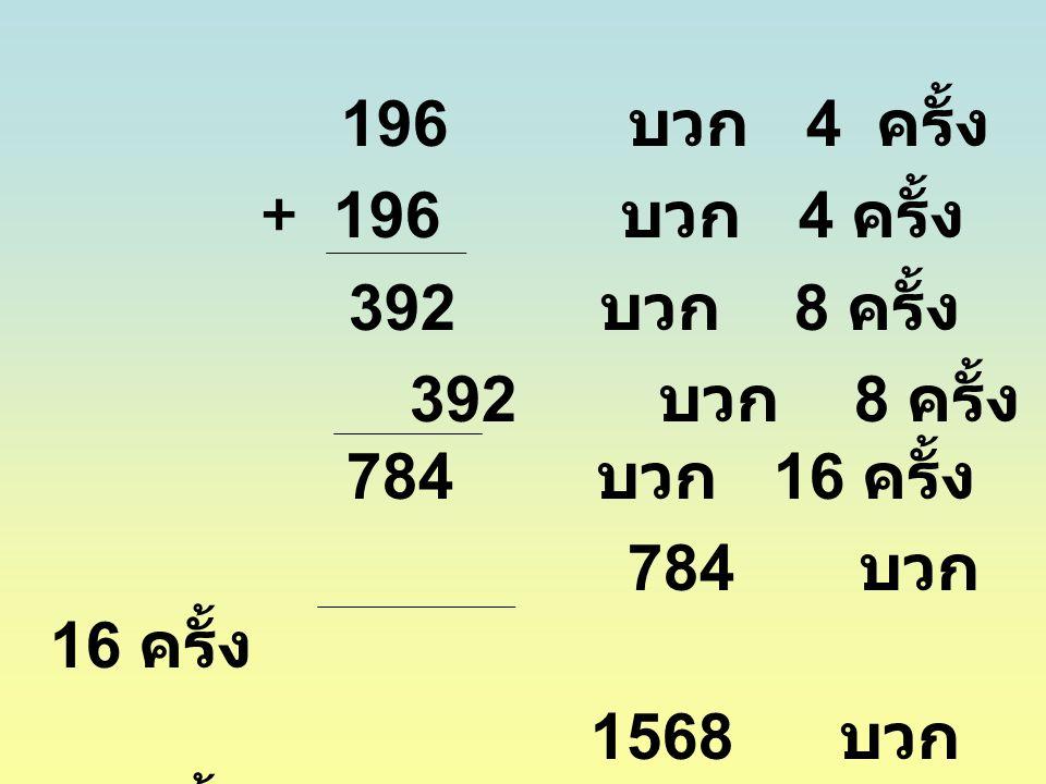 + 196 บวก 4 ครั้ง 392 บวก 8 ครั้ง 392 บวก 8 ครั้ง 784 บวก 16 ครั้ง 784 บวก 16 ครั้ง 1568 บวก 32 ครั้ง