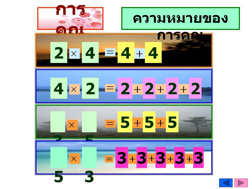 การคูณโดย อาศัยการบวก 23 × 4 =? 23