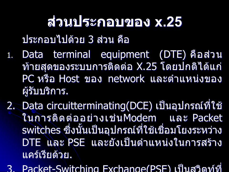 ส่วนประกอบของ x.25 ประกอบไปด้วย 3 ส่วน คือ 1. Data terminal equipment (DTE) คือส่วน ท้ายสุดของระบบการติดต่อ X.25 โดยปกติได้แก่ PC หรือ Host ของ networ