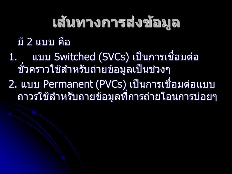 เส้นทางการส่งข้อมูล มี 2 แบบ คือ 1. แบบ Switched (SVCs) เป็นการเชื่อมต่อ ชั่วคราวใช้สำหรับถ่ายข้อมูลเป็นช่วงๆ 2. แบบ Permanent (PVCs) เป็นการเชื่อมต่อ