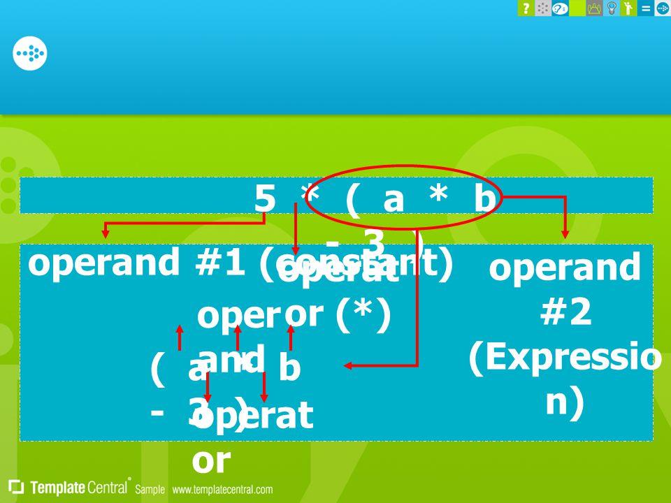 operand #1 (constant) 5 * ( a * b - 3 ) operand #2 (Expressio n) operat or (*) ( a * b - 3 ) operat or oper and