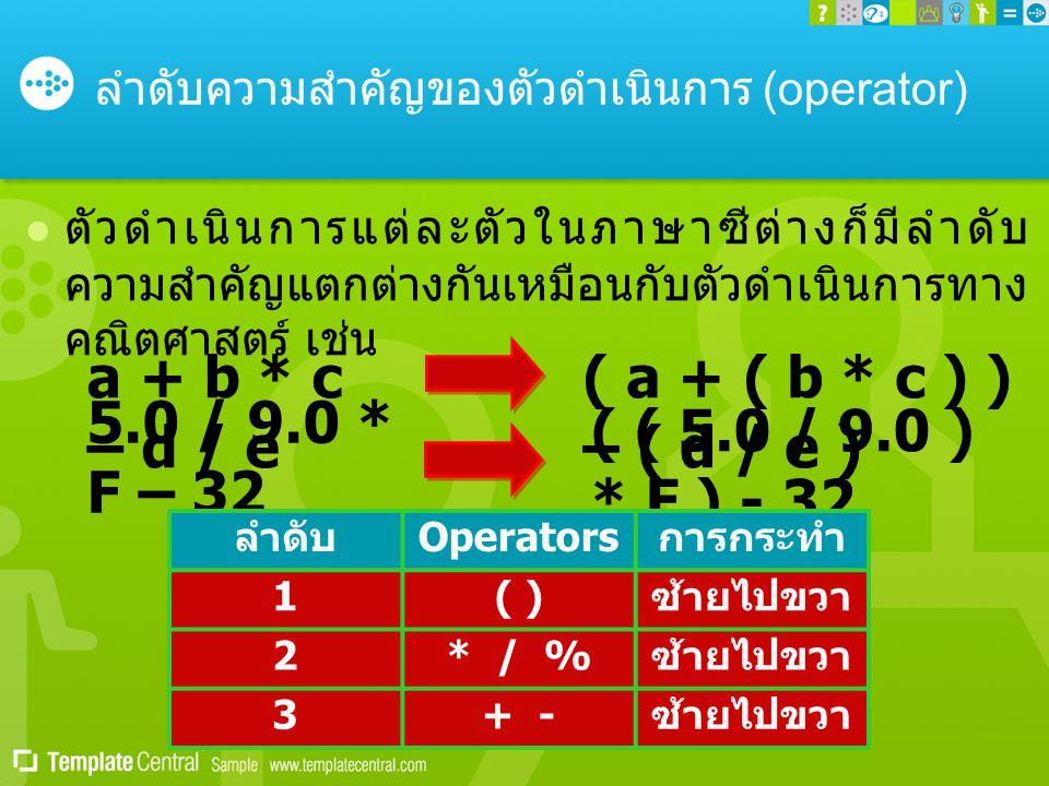 ลำดับความสำคัญของตัวดำเนินการ (operator)  ตัวดำเนินการแต่ละตัวในภาษาซีต่างก็มีลำดับ ความสำคัญแตกต่างกันเหมือนกับตัวดำเนินการทาง คณิตศาสตร์ เช่น a + b * c – d / e ( a + ( b * c ) ) – ( d / e ) 5.0 / 9.0 * F – 32 ( ( 5.0 / 9.0 ) * F ) - 32 ลำดับ Operators การกระทำ 1( ) ซ้ายไปขวา 2* / % ซ้ายไปขวา 3+ - ซ้ายไปขวา
