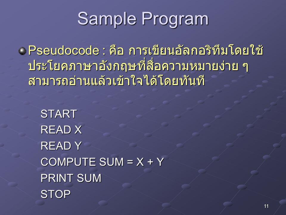 11 Sample Program Pseudocode : คือ การเขียนอัลกอริทึมโดยใช้ ประโยคภาษาอังกฤษที่สื่อความหมายง่าย ๆ สามารถอ่านแล้วเข้าใจได้โดยทันที START READ X READ Y
