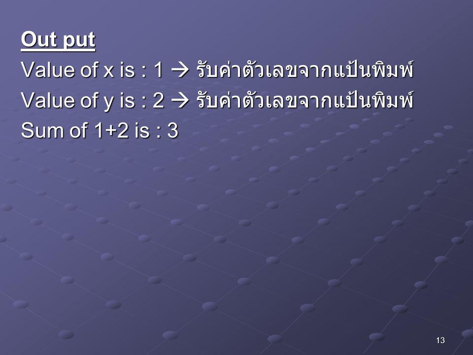 13 Out put Value of x is : 1  รับค่าตัวเลขจากแป้นพิมพ์ Value of y is : 2  รับค่าตัวเลขจากแป้นพิมพ์ Sum of 1+2 is : 3