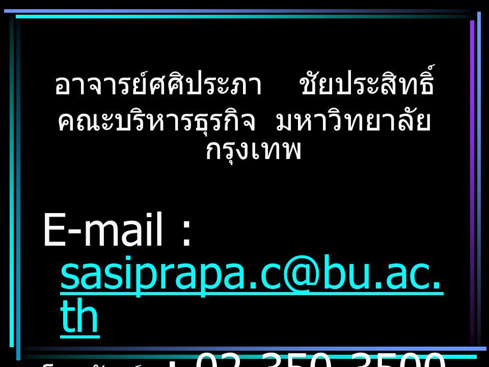 อาจารย์ศศิประภาชัยประสิทธิ์ คณะบริหารธุรกิจ มหาวิทยาลัย กรุงเทพ E-mail : sasiprapa.c@bu.ac.