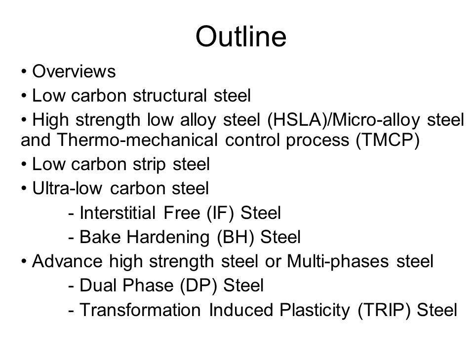 Overview: Low Carbon Structural Steel •Predominantly C-Mn steels (Ferrite-Pearlite microstructures) •Used in large quantities in civil and chemical engineering •General Y.S.