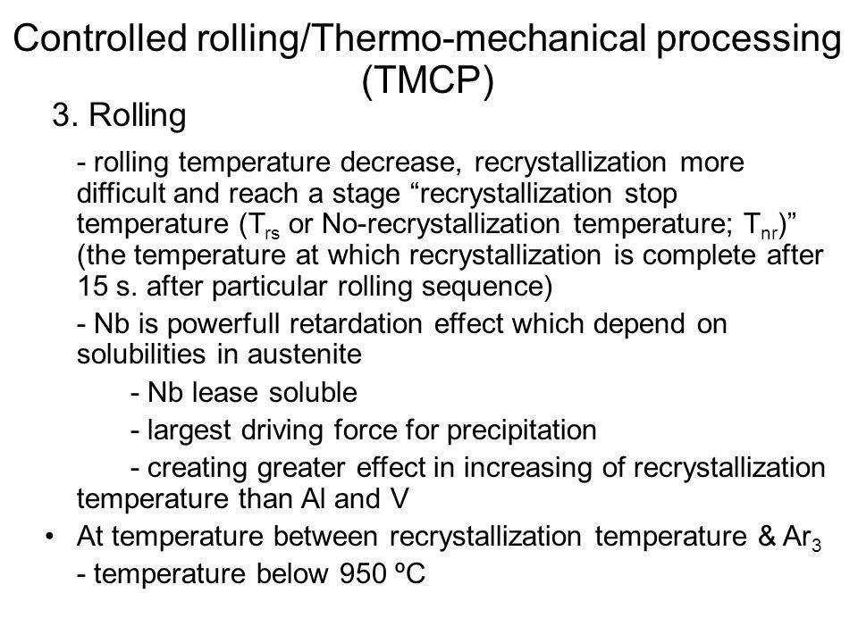 """3. Rolling - rolling temperature decrease, recrystallization more difficult and reach a stage """"recrystallization stop temperature (T rs or No-recrysta"""