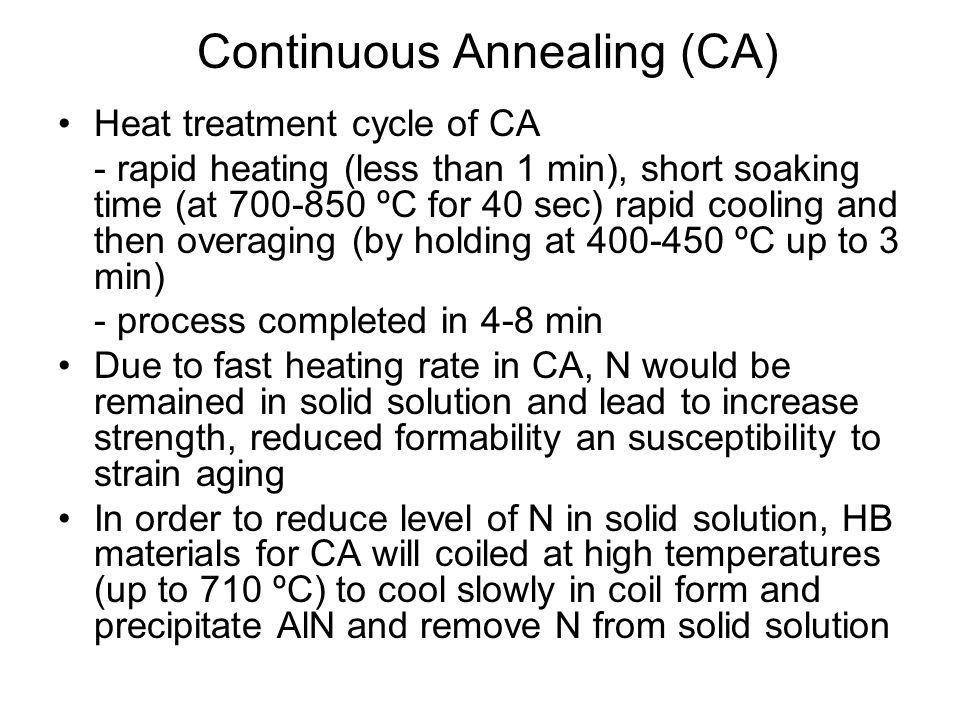•Heat treatment cycle of CA - rapid heating (less than 1 min), short soaking time (at 700-850 ºC for 40 sec) rapid cooling and then overaging (by hold