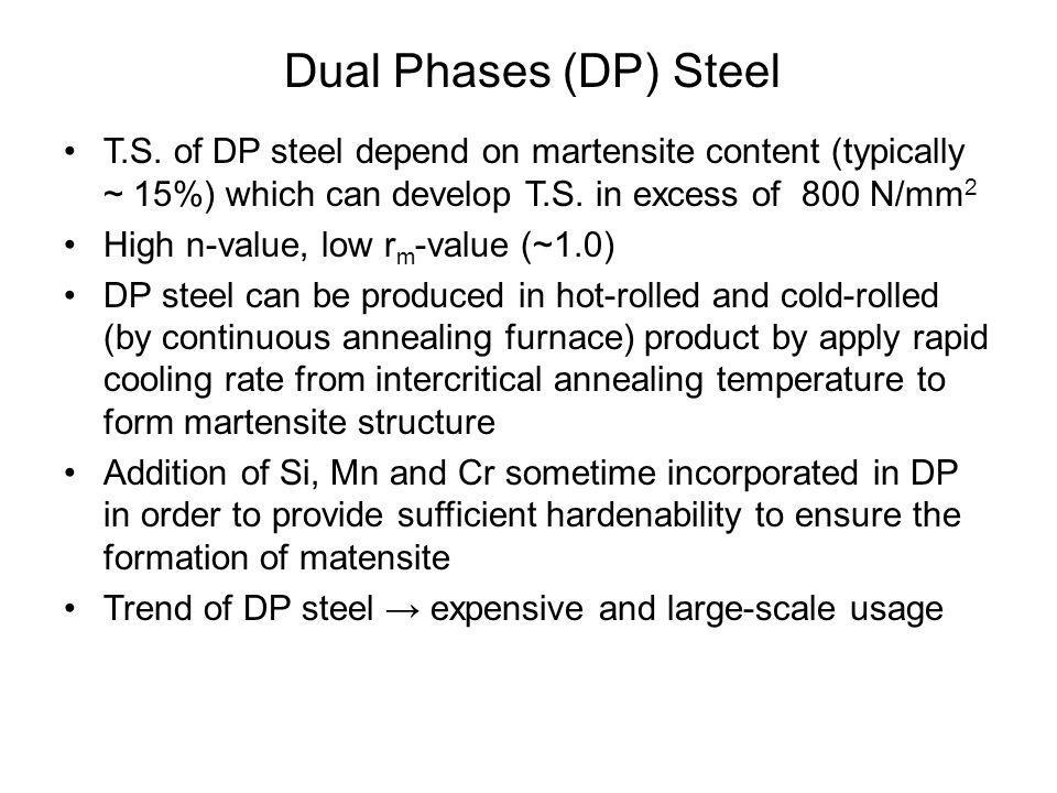 •T.S. of DP steel depend on martensite content (typically ~ 15%) which can develop T.S. in excess of 800 N/mm 2 •High n-value, low r m -value (~1.0) •
