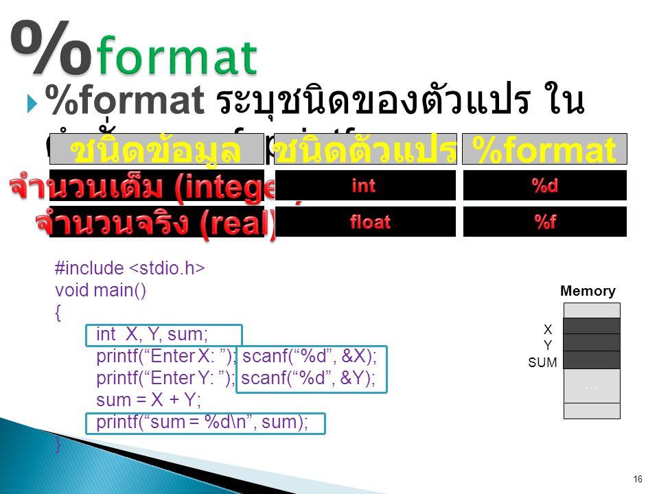 " %format ระบุชนิดของตัวแปร ใน คำสั่ง scanf, printf 16 ชนิดข้อมูลชนิดตัวแปร %format #include void main() { int X, Y, sum; printf(""Enter X: ""); scanf("""