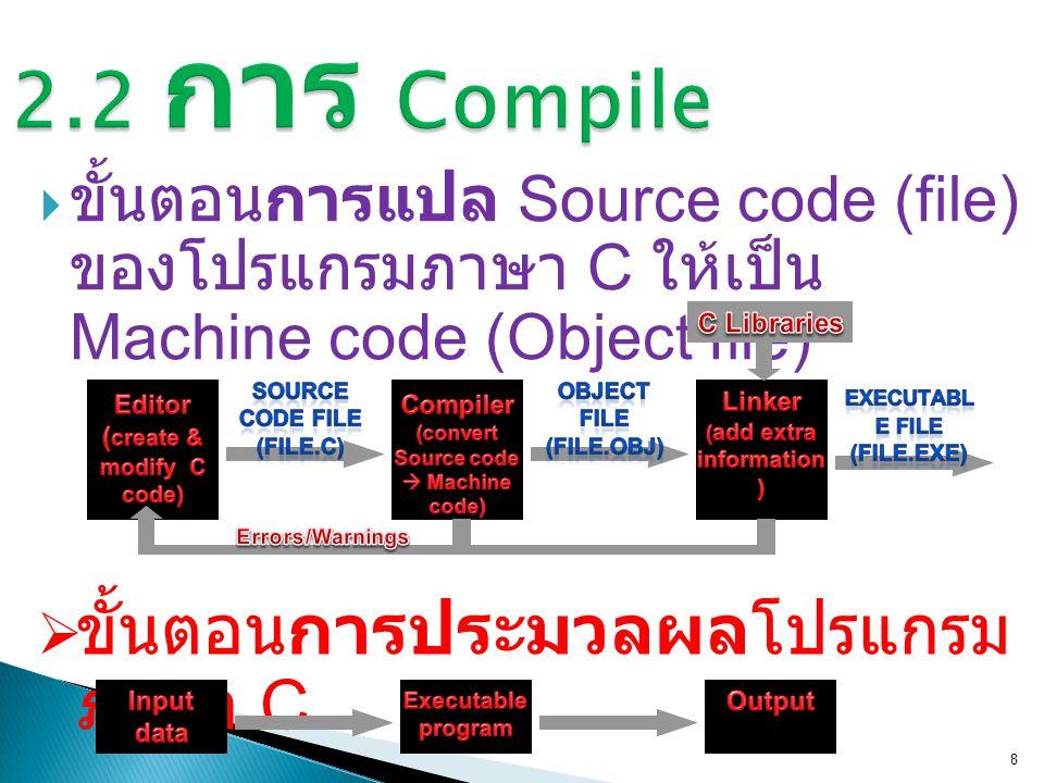  ขั้นตอนการแปล Source code (file) ของโปรแกรมภาษา C ให้เป็น Machine code (Object file) 8  ขั้นตอนการประมวลผลโปรแกรม ภาษา C