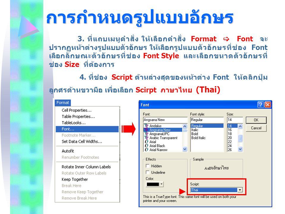 การกำหนดรูปแบบอักษร 3. ที่แถบเมนูคำสั่ง ให้เลือกคำสั่ง Format  Font จะ ปรากฏหน้าต่างรูปแบบตัวอักษร ให้เลือกรูปแบบตัวอักษรที่ช่อง Font เลือกลักษณะตัวอ