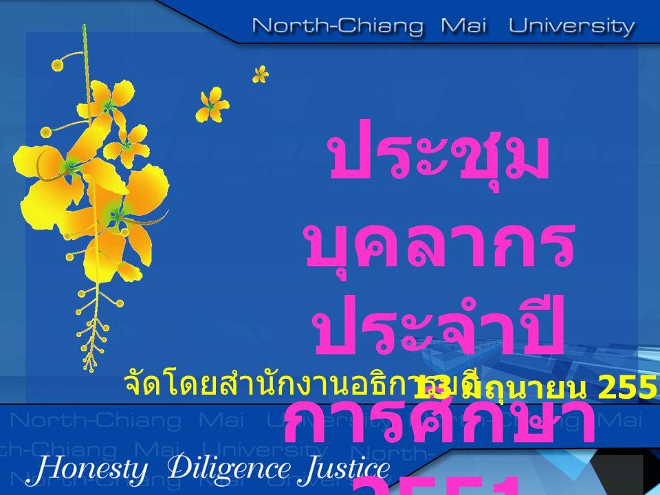 ประชุม บุคลากร ประจำปี การศึกษา 2551 13 มิถุนายน 2551 จัดโดยสำนักงานอธิการบดี