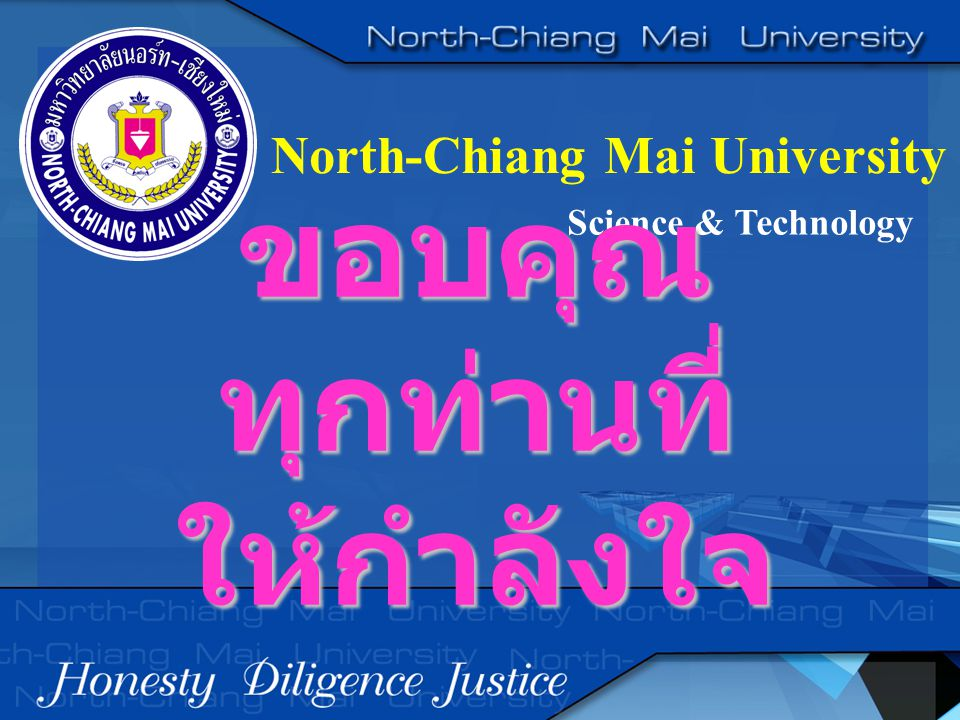 North-Chiang Mai University Science & Technology ขอบคุณ ทุกท่านที่ ให้กำลังใจ