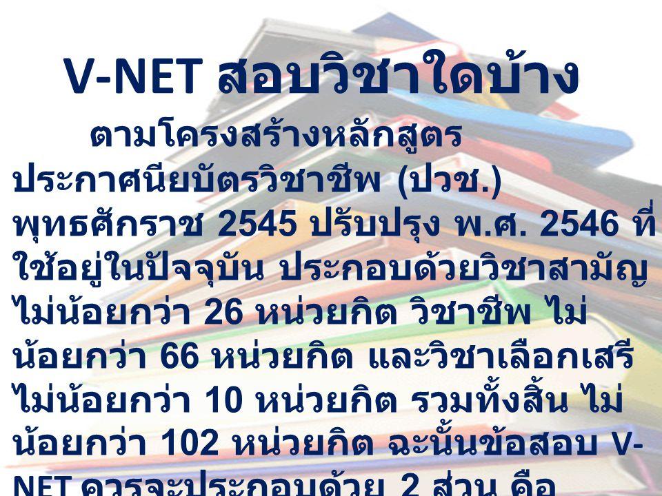 V-NET สอบวิชาใดบ้าง ตามโครงสร้างหลักสูตร ประกาศนียบัตรวิชาชีพ ( ปวช.) พุทธศักราช 2545 ปรับปรุง พ. ศ. 2546 ที่ ใช้อยู่ในปัจจุบัน ประกอบด้วยวิชาสามัญ ไม