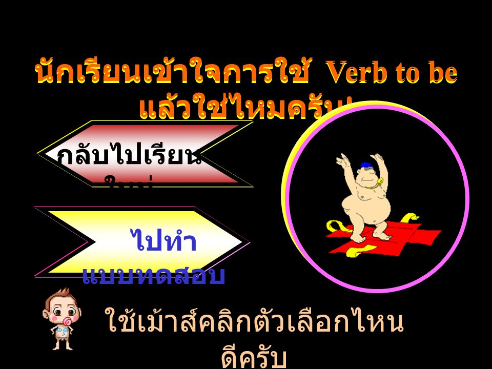 Verb to be ได้แก่ is, am, are แปลว่า เป็น, อยู่, คือ ใช้กับประธาน พหูพจน์ ได้แก่ We, You, They, Dang and Tong, The books, The dogs เป็นต้น are The books are on the table.
