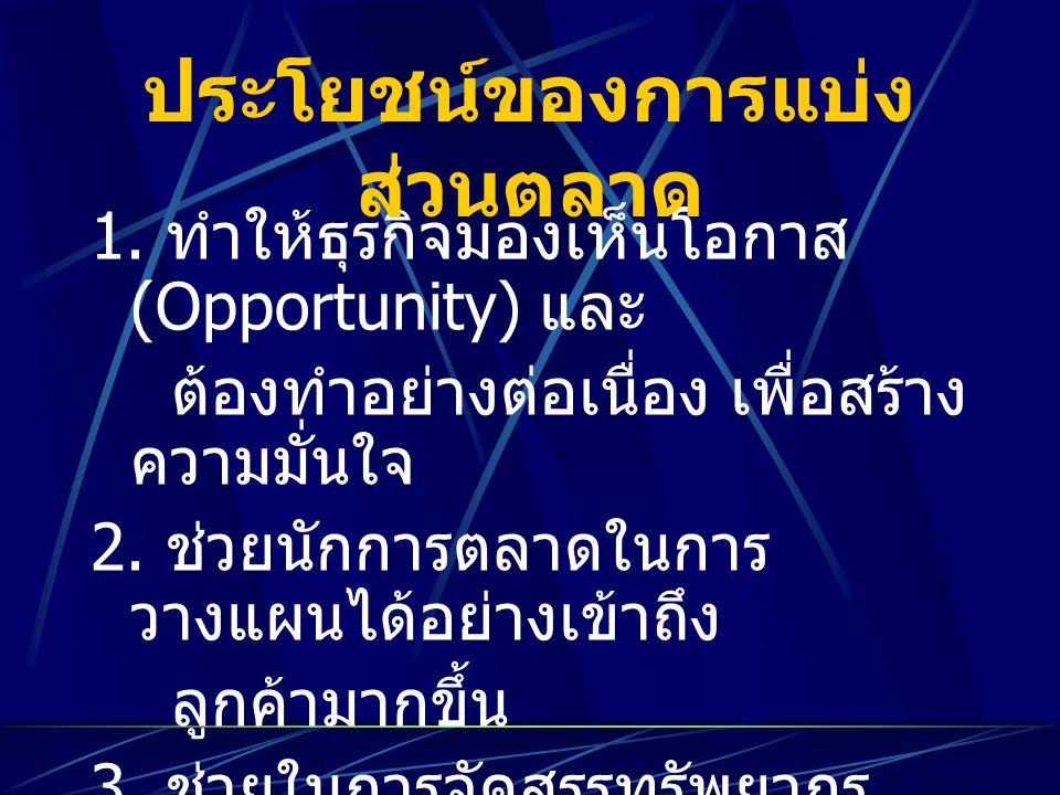 1. ทำให้ธุรกิจมองเห็นโอกาส (Opportunity) และ ต้องทำอย่างต่อเนื่อง เพื่อสร้าง ความมั่นใจ 2. ช่วยนักการตลาดในการ วางแผนได้อย่างเข้าถึง ลูกค้ามากขึ้น 3.