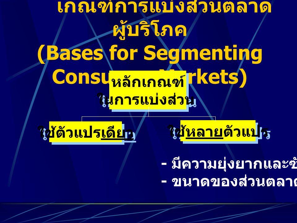 เกณฑ์การแบ่งส่วนตลาด ผู้บริโภค (Bases for Segmenting Consumer Markets) หลักเกณฑ์ ในการแบ่งส่วน หลักเกณฑ์ ในการแบ่งส่วน ใช้ตัวแปรเดียว ใช้หลายตัวแปร -