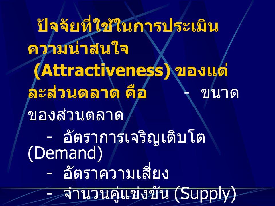 ปัจจัยที่ใช้ในการประเมิน ความน่าสนใจ (Attractiveness) ของแต่ ละส่วนตลาด คือ - ขนาด ของส่วนตลาด - อัตราการเจริญเติบโต (Demand) - อัตราความเสี่ยง - จำนว