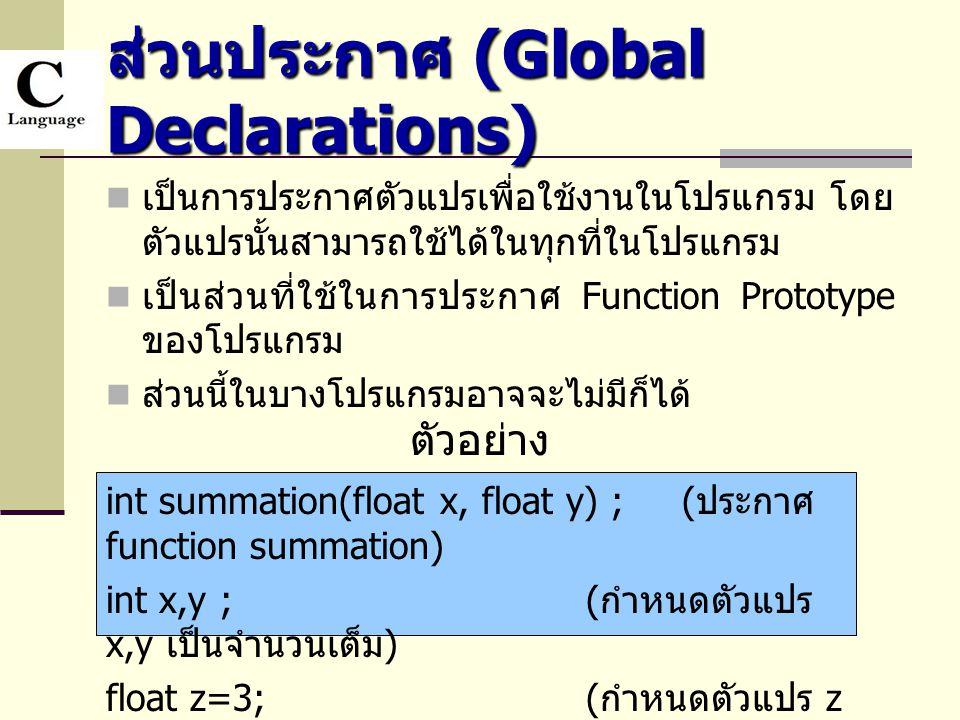ส่วนประกาศ (Global Declarations)  เป็นการประกาศตัวแปรเพื่อใช้งานในโปรแกรม โดย ตัวแปรนั้นสามารถใช้ได้ในทุกที่ในโปรแกรม  เป็นส่วนที่ใช้ในการประกาศ Fun