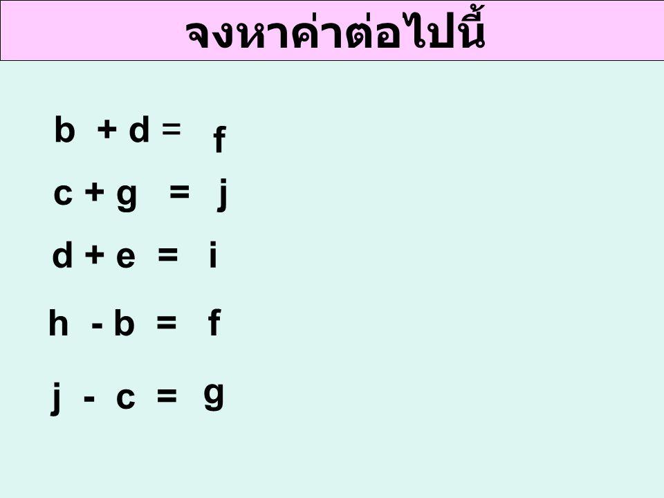 จงหาค่าต่อไปนี้ b + d = f c + g = d + e = h - b = j - c = j i f g
