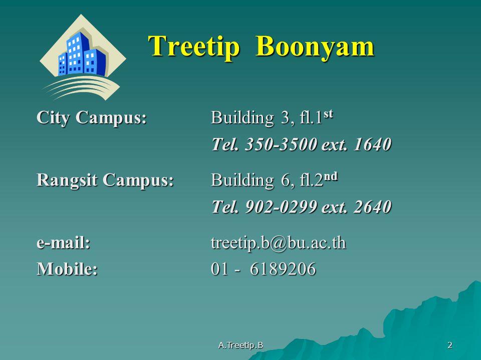 A.Treetip.B 3 การประเมินผล Mid term Exam30% Final Exam40% Report15% Presentation10% Assignment Assignment 5%(Day-program) Total100%
