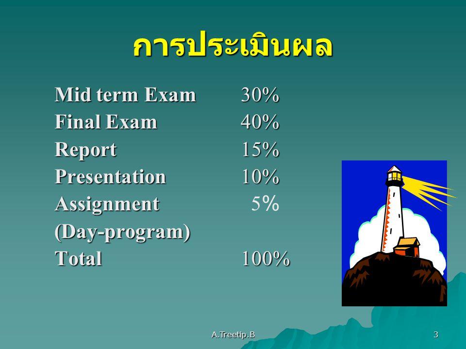A.Treetip.B 4 การแบ่งคะแนนรายงาน (Report 15%) 1.รูปแบบถูกต้อง 5 2.