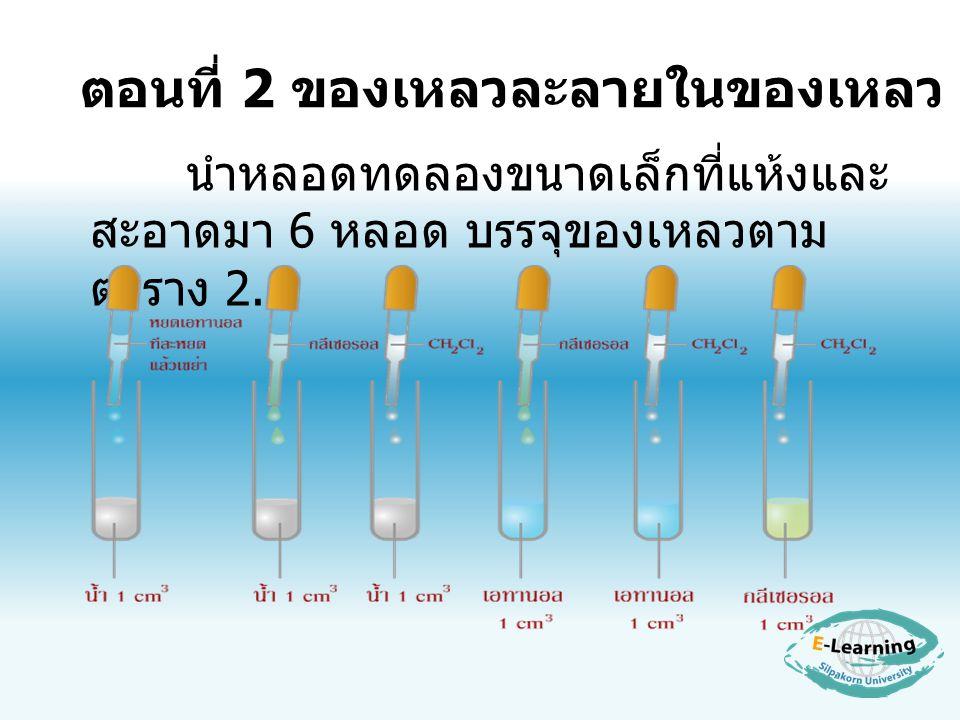 ตอนที่ 2 ของเหลวละลายในของเหลว นำหลอดทดลองขนาดเล็กที่แห้งและ สะอาดมา 6 หลอด บรรจุของเหลวตาม ตาราง 2.1