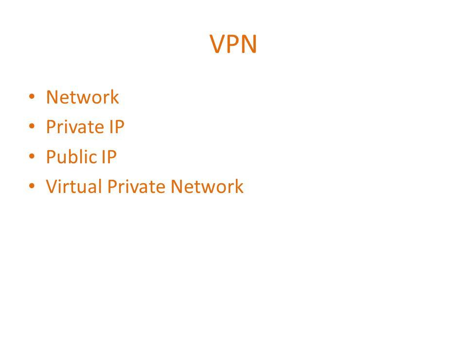 VPN • Network • Private IP • Public IP • Virtual Private Network