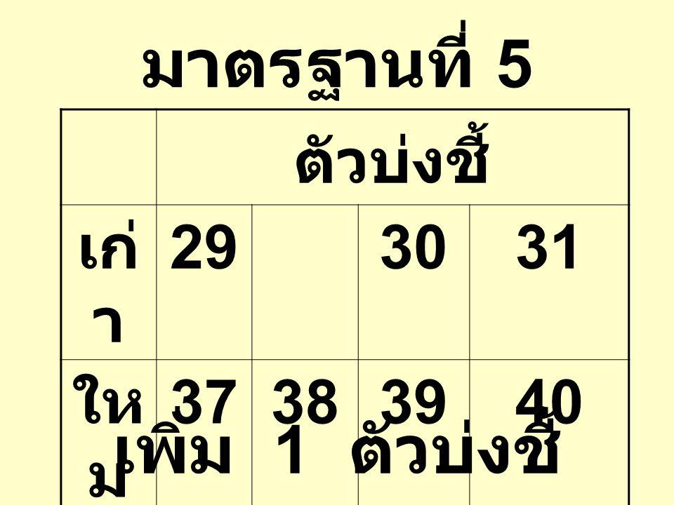 มาตรฐานที่ 5 ตัวบ่งชี้ เก่ า 293031 ให ม่ 37383940 เพิ่ม 1 ตัวบ่งชี้