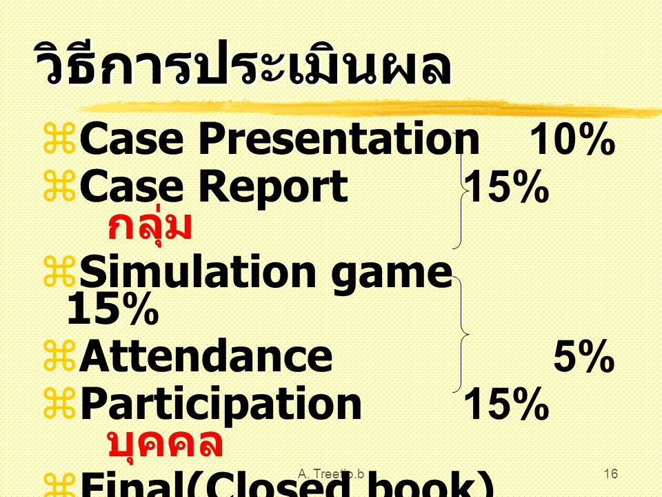 A. Treetip.b16 วิธีการประเมินผล  Case Presentation 10%  Case Report 15% กลุ่ม  Simulation game 15%  Attendance 5%  Participation 15% บุคคล  Fina