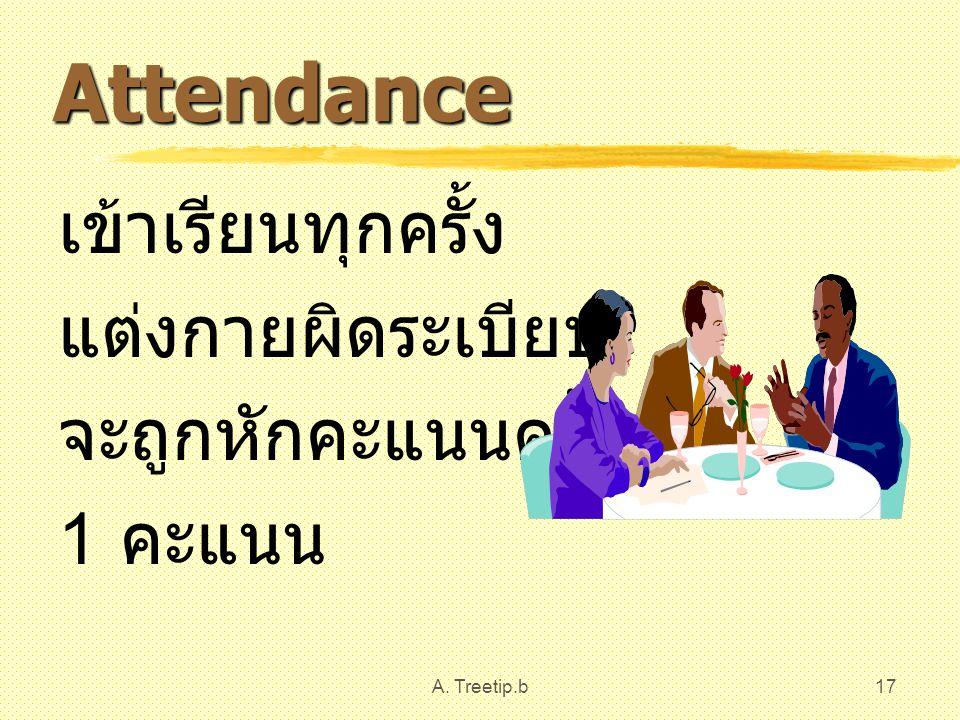 A. Treetip.b17 Attendance เข้าเรียนทุกครั้ง แต่งกายผิดระเบียบ จะถูกหักคะแนนครั้งละ 1 คะแนน