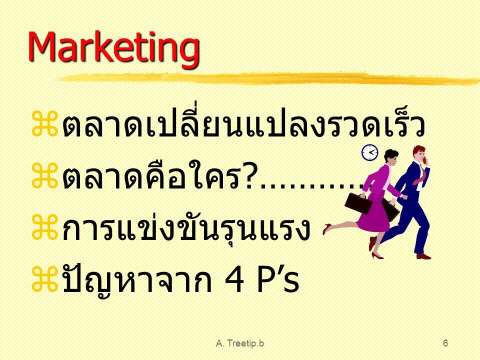 A. Treetip.b6 Marketing  ตลาดเปลี่ยนแปลงรวดเร็ว  ตลาดคือใคร ?…………  การแข่งขันรุนแรง  ปัญหาจาก 4 P's