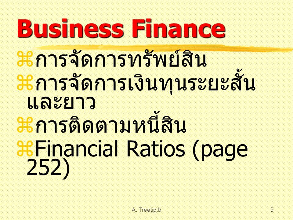 A. Treetip.b9 Business Finance  การจัดการทรัพย์สิน  การจัดการเงินทุนระยะสั้น และยาว  การติดตามหนี้สิน  Financial Ratios (page 252)