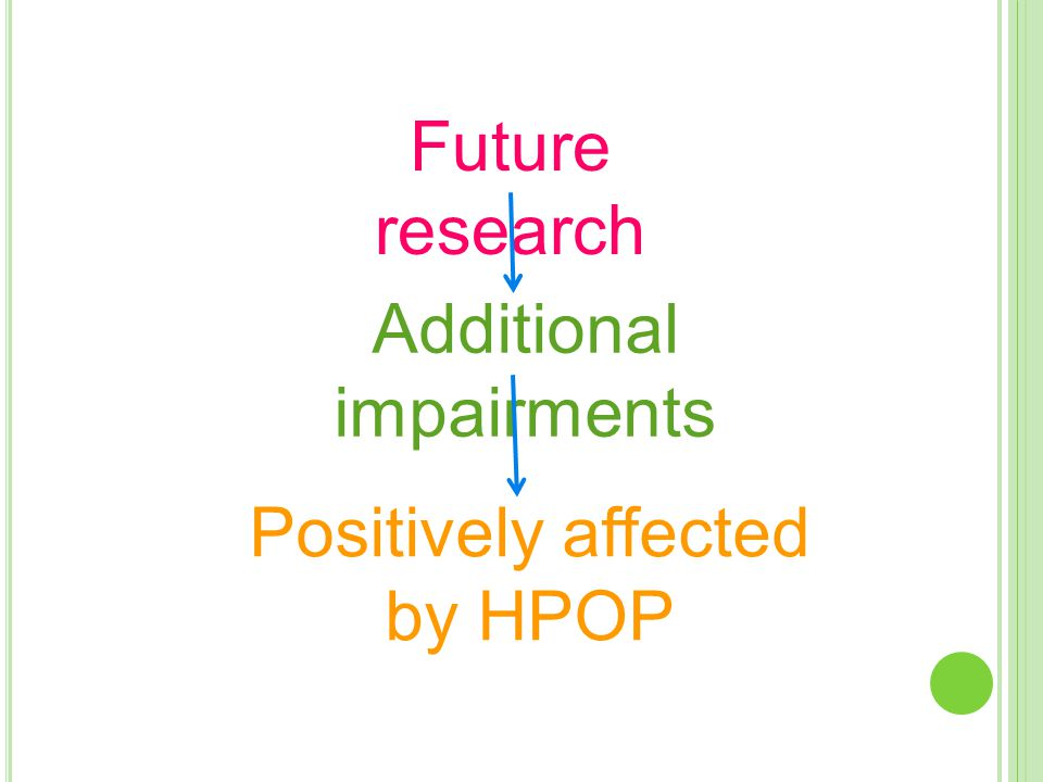Future research Additional impairments Positively affected by HPOP