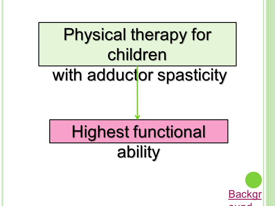 Physical therapy for children with adductor spasticity with adductor spasticity Highest functional ability Backgr ound