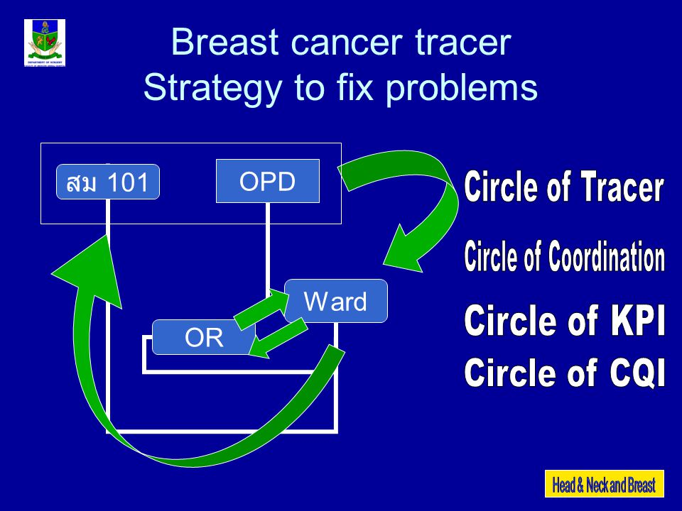 Breast cancer tracer 1.Risk identification 2.Project for risk correction 3.Tools or instruments 4.Identify Providers & Evaluators 5.KPI 6.Meeting & Feed back (CQI) Process