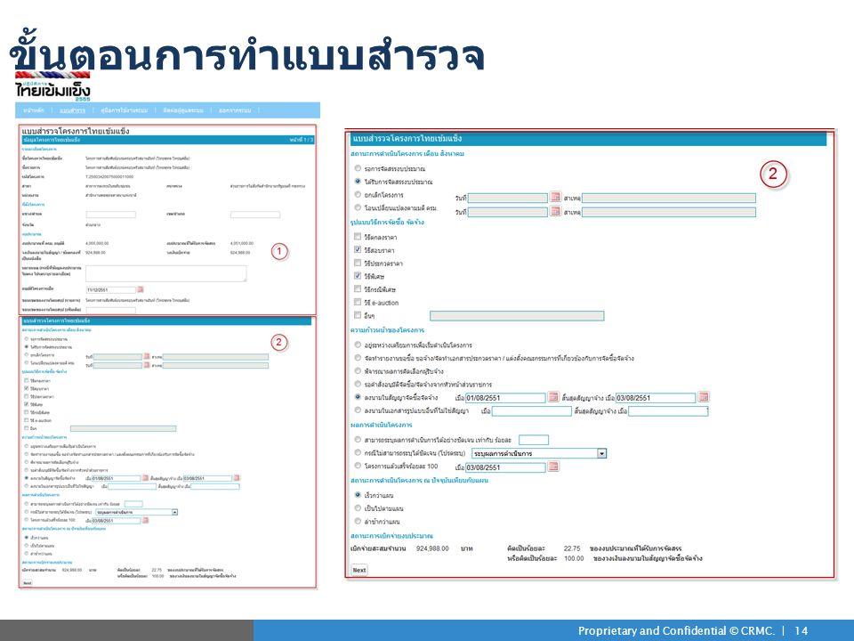 Proprietary and Confidential © CRMC. | 14 ขั้นตอนการทำแบบสำรวจ