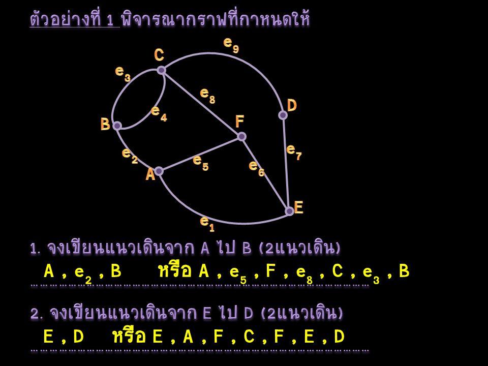 A, e 2, Bหรือ A, e 5, F, e 8, C, e 3, B E, Dหรือ E, A, F, C, F, E, D