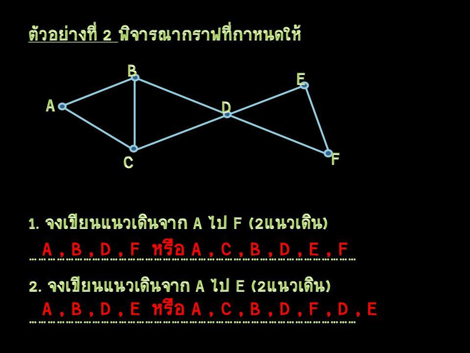 A, B, D, Fหรือ A, C, B, D, E, F A, B, D, Eหรือ A, C, B, D, F, D, E