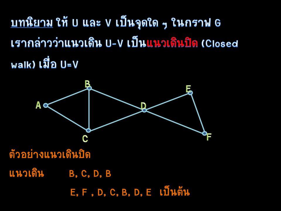 ตัวอย่างแนวเดินปิด แนวเดิน B, C, D, B E, F, D, C, B, D, E เป็นต้น