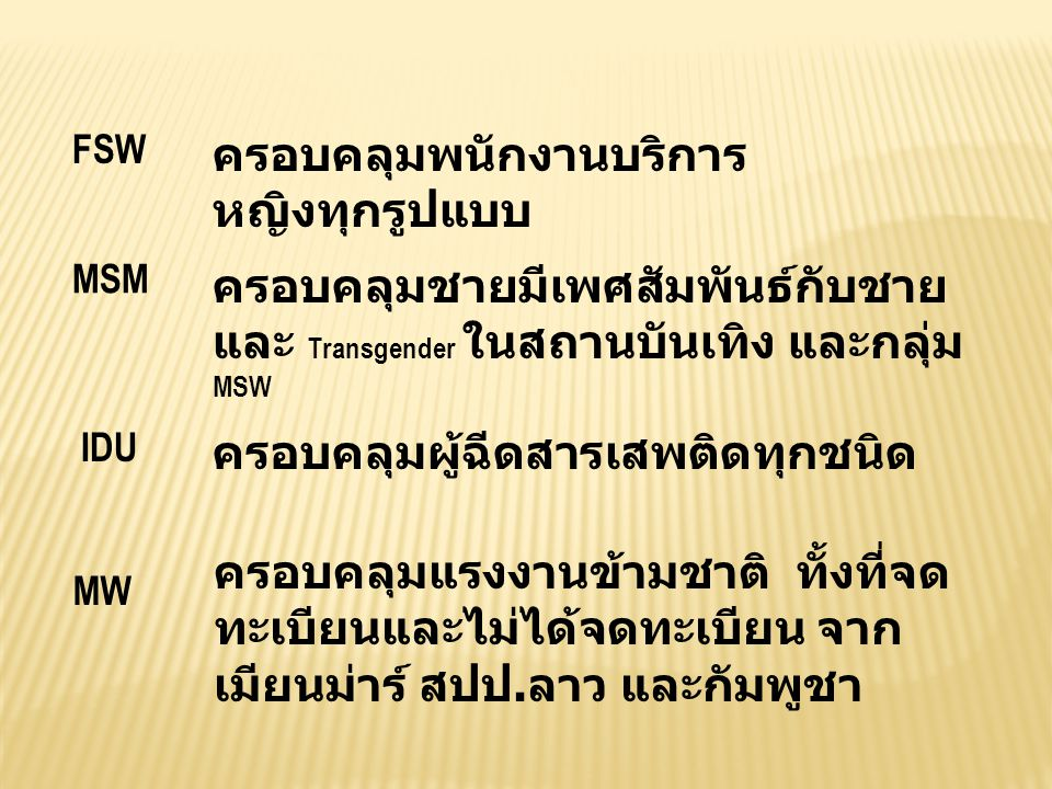 CCM / TC- HIV PR-DDC FSW, MSM, HSS PR-RTF MW PR-PSI IDU Joint Strategic Committee SR-RTF SR-AHRN SR-CPAT SR-Metta Khao Khao House SSR-Alden House SSR-Siam Care SSR-Thai Red Cross SR-BATS (STI cluster) SR-BATS (AIDS cluster) SR-DOC SR-DMS SR-PPAT SR-RSAT SR-BoE SR- OTDSAR SSR-TDN SR-DHSS SR-MAP SR-WVFT SR-Stella SR-IOM SR-AIDNET SR- Pattanarak SR-FAR SSR-SDA
