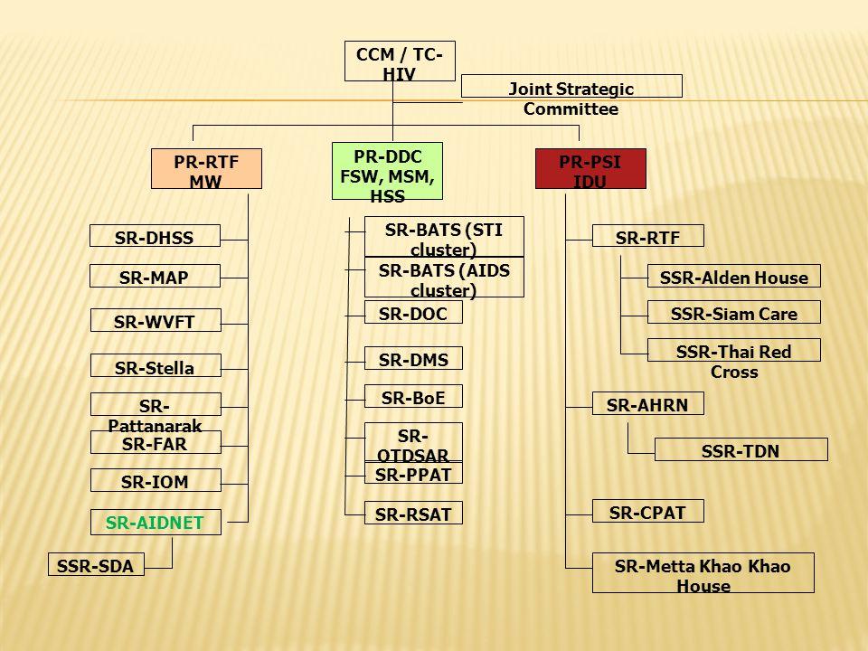 CCM / TC- HIV PR-DDC FSW, MSM, HSS PR-RTF MW PR-PSI IDU Joint Strategic Committee SR-RTF SR-AHRN SR-CPAT SR-Metta Khao Khao House SSR-Alden House SSR-