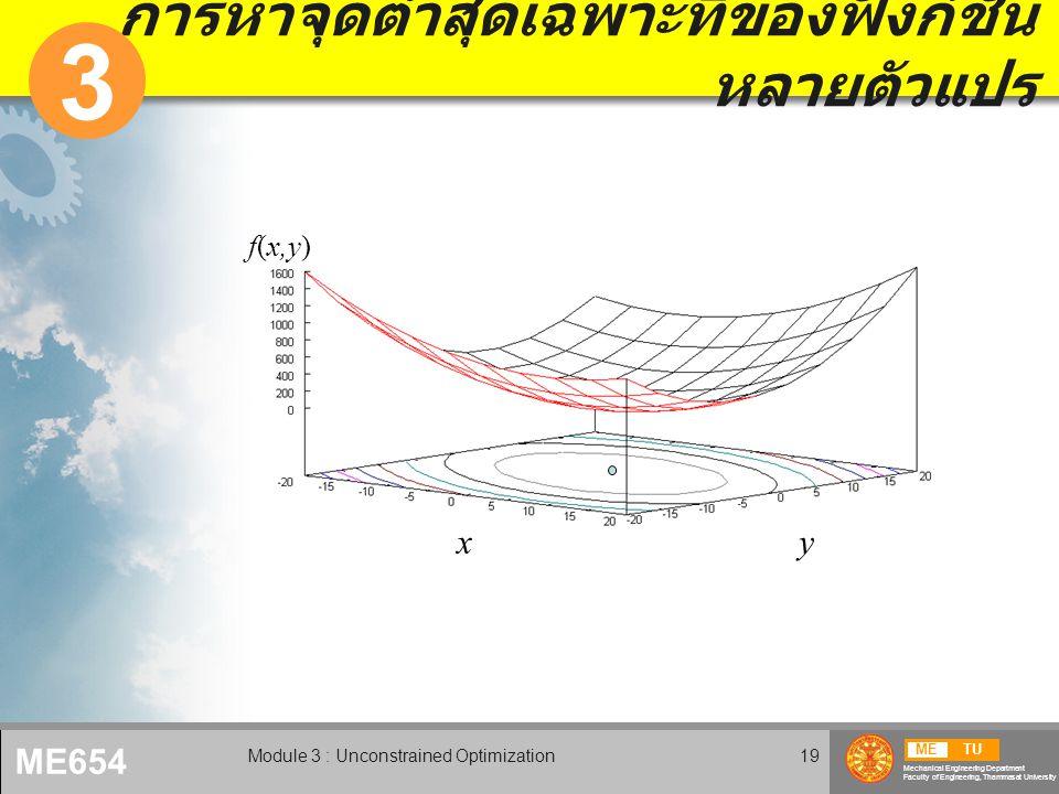 METU Mechanical Engineering Department Faculty of Engineering, Thammasat University ME654 Module 3 : Unconstrained Optimization19 การหาจุดต่ำสุดเฉพาะที่ของฟังก์ชั่น หลายตัวแปร 3 x f(x,y) y