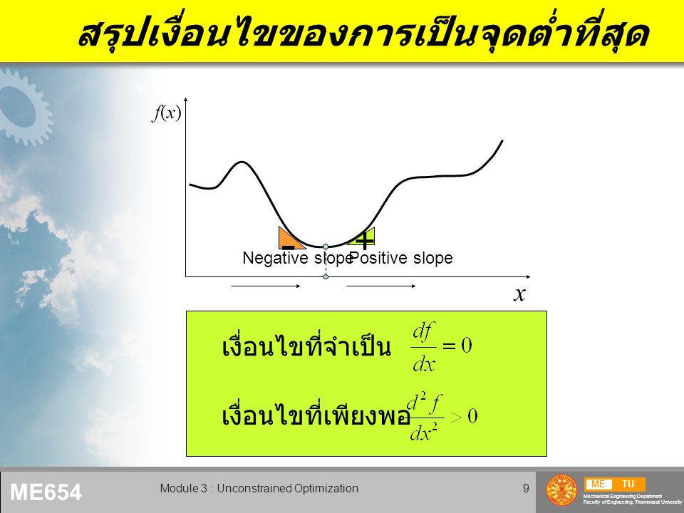 METU Mechanical Engineering Department Faculty of Engineering, Thammasat University ME654 Module 3 : Unconstrained Optimization9 สรุปเงื่อนไขของการเป็นจุดต่ำที่สุด x f(x)f(x) - + Negative slopePositive slope เงื่อนไขที่เพียงพอ เงื่อนไขที่จำเป็น