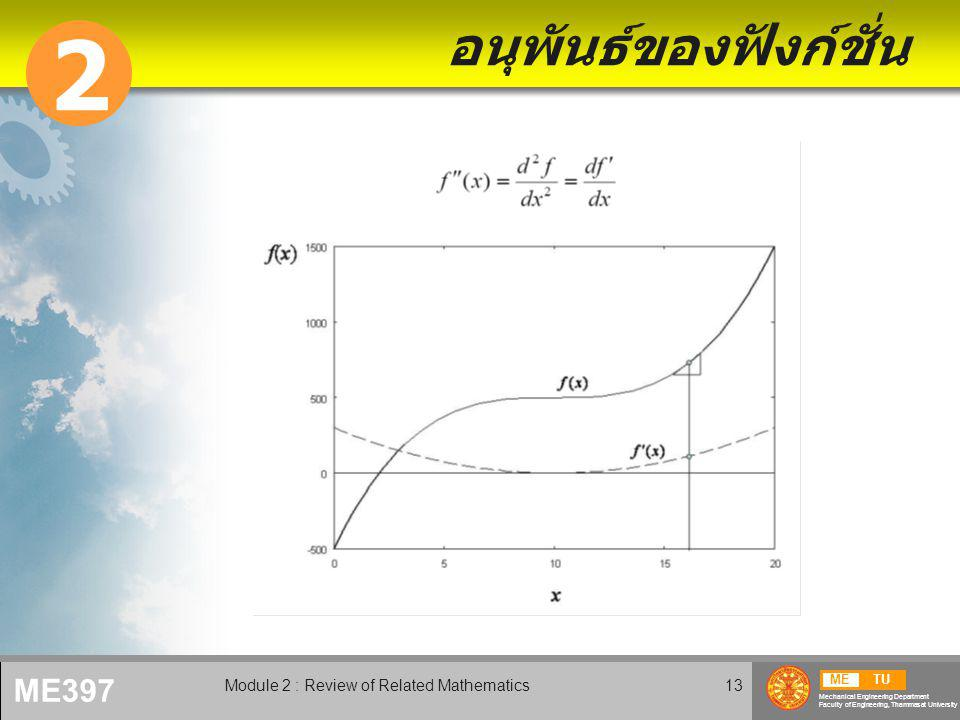 METU Mechanical Engineering Department Faculty of Engineering, Thammasat University ME397 Module 2 : Review of Related Mathematics13 อนุพันธ์ของฟังก์ชั่น 2