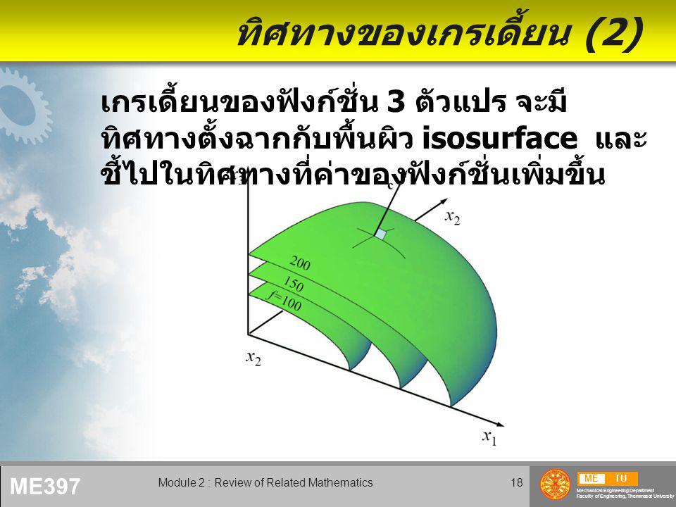METU Mechanical Engineering Department Faculty of Engineering, Thammasat University ME397 Module 2 : Review of Related Mathematics18 ทิศทางของเกรเดี้ย