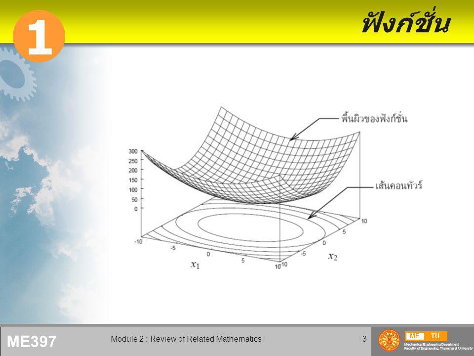 METU Mechanical Engineering Department Faculty of Engineering, Thammasat University ME397 Module 2 : Review of Related Mathematics4 ฟังก์ชั่นตัวแปรเดียว  รูปแบบชัดแจ้ง Explicit forms  รูปแบบโดยอ้อม Implicit forms  พาราเมตริก Parametric forms curve